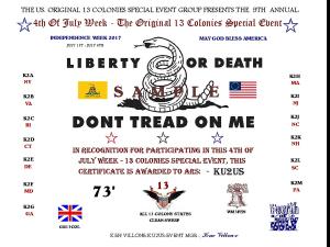 13 Colonies 2017 Certificate